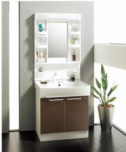 クリナップ製、「BTG」シリーズ、W=750、1面鏡、シャワー付きシングルレバー水洗、開扉、定価106000円