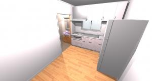 キッチン~脱衣場へのパース図です。