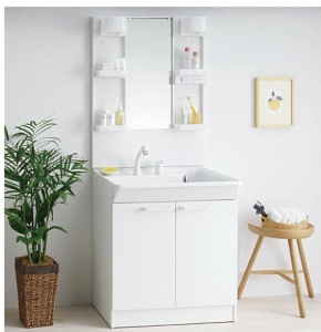 TOTO製、W=750,たっぷり収納、エコシングルシャンプー水洗、滑り台ボウル定価122000円