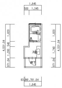 交野・荒川浴室改装後-平面図(1階)