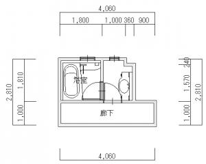 交野・飯田・浴室・脱衣場改装前-平面図(1階)