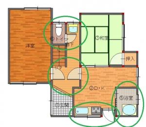 砂辺邸工事前-平面図(1階)