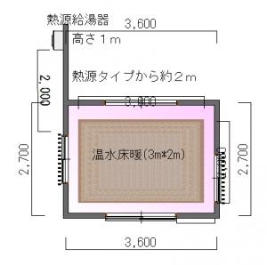桑原邸増築工事床暖図面-平面図(1階)